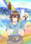 1boy animalization aoi_yuito aqua_ribbon bear bird blue_neckwear blue_shirt blue_sky blurry blurry_background brown_eyes brown_hair camera cat clouds dog drawing_tablet fish food fruit fukazawa_chigusa glasses irozuku_sekai_no_ashita_kara kawai_kurumi kazano_asagi luminosowatson male_focus mountainous_horizon necktie open_mouth penguin rabbit rainbow red_neckwear ribbon shirt sitting sky smile stylus tsukishiro_hitomi tsukishiro_kohaku water yamabuki_shou