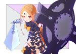 1girl :< abigail_williams_(fate/grand_order) blonde_hair blush fate/grand_order fate_(series) forehead gauntlets highres holding holding_shield holding_sword holding_weapon keyhole kopaka_(karda_nui) long_hair looking_at_viewer panties purple_nails purple_panties shield single_thighhigh solo sword thigh-highs underwear violet_eyes weapon