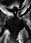 1boy abs arms_at_sides artist_name aura backlighting bandages chest dark full_moon garou_(one-punch_man) greyscale highres male_focus monochrome moon muscle night one-punch_man outdoors pectorals scar scarf solo spoilers stomach the_golden_smurf upper_body