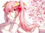 1girl bare_shoulders branch cherry cherry_blossoms cherry_hair_ornament commentary deep_(deep4946) detached_sleeves falling_petals flower food food_themed_hair_ornament fruit hair_ornament hand_on_own_cheek hatsune_miku head_rest highres long_hair looking_at_viewer lying necktie on_stomach petals pink_eyes pink_hair sakura_miku shirt shoulder_tattoo skirt sleeveless sleeveless_shirt smile solo tattoo twintails very_long_hair vocaloid white_background white_shirt white_skirt white_sleeves