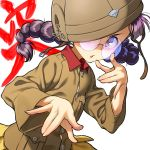 1girl black_hair braid chi-hatan_military_uniform fukuda_(girls_und_panzer) girls_und_panzer glasses helmet long_hair long_sleeves looking_at_viewer military military_uniform pairan purple_hair round_eyewear simple_background skirt solo twin_braids uniform violet_eyes white_background yellow_skirt