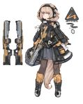 1girl absurdres animal_ears blue_eyes brown_hair character_sheet commentary fox_ears full_body gloves gun headset highres jacket load_bearing_equipment original pantyhose pouch puremage science_fiction short_hair solo tail weapon white_background