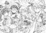 /\/\/\ 5girls absurdres asphyxiation bangs bismarck_(kantai_collection) blunt_bangs blush breasts chopsticks dessert detached_sleeves eating flying_sweatdrops food food_in_mouth glasses graphite_(medium) greyscale hair_ribbon hat headdress headgear highres holding holding_food kantai_collection kojima_takeshi large_breasts libeccio_(kantai_collection) littorio_(kantai_collection) long_hair long_sleeves monochrome multiple_girls open_mouth ribbon roma_(kantai_collection) sushi sweat traditional_media twintails wavy_hair