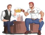 2boys abeberries beard blush bottle brown_hair chest closed_eyes cup drinking_glass facial_hair fate/grand_order fate_(series) hand_on_own_thigh highres long_sleeves male_focus multiple_boys muscle napoleon_bonaparte_(fate/grand_order) pectorals redhead rider_(fate/zero) scar simple_background smile teeth uniform