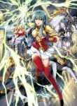 1girl absurdres animal aqua_eyes aqua_hair armor bangs boots bracelet breastplate cape earrings eirika elbow_gloves fingerless_gloves fire_emblem fire_emblem:_seima_no_kouseki fire_emblem_cipher gloves highres holding holding_sword holding_weapon horse indoors jewelry leg_up lightning long_hair looking_at_viewer official_art open_mouth red_footwear red_gloves shiny shiny_hair shoulder_armor sidelocks skirt solo sword thigh-highs thigh_boots weapon white_skirt yamada_koutarou zettai_ryouiki