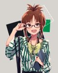 1girl akizuki_ritsuko anaroguya antenna_hair black-framed_eyewear blush breasts brown_eyes brown_hair buttons clipboard collarbone commentary glasses grey_background hands_on_eyewear highres holding holding_clipboard idolmaster idolmaster_(classic) looking_at_viewer open_mouth shirt short_hair short_ponytail simple_background smile solo striped striped_shirt upper_body vertical-striped_shirt vertical_stripes