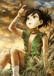 1girl abe_yoshitoshi androgynous black_hair brown_eyes brown_sky bug dororo_(character) dororo_(tezuka) dragonfly flat_chest grass hand_up highres insect looking_up open_clothes open_mouth outdoors ponytail sitting solo