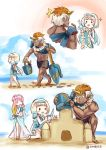 1boy 2girls ane-suisei beach bikini blonde_hair blue_hair bucket closed_eyes dark_skin dark_skinned_male fire_emblem fire_emblem_heroes from_side gunnthra_(fire_emblem) hairband head_wreath helbindi_(fire_emblem_heroes) highres holding long_hair male_swimwear multicolored_hair multiple_girls one-piece_swimsuit open_mouth orange_hair outdoors pink_hair sand sand_castle sand_sculpture sarong scar short_hair shovel siblings sisters swim_trunks swimsuit swimwear twitter_username water white_hair wreath ylgr_(fire_emblem_heroes)
