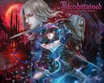 1girl alfred_(bloodstained) black_hair bloodstained:_ritual_of_the_night blue_eyes breasts brown_hair detached_sleeves flower flower_tattoo fufu gauntlets gradient_hair hair_between_eyes hair_ornament hair_over_one_eye highres horns katana looking_at_viewer mask medium_breasts miriam_(bloodstained) moon multicolored_hair multiple_boys night pale_skin short_hair stained_glass sword tattoo weapon zangetsu_(bloodstained)