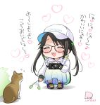 1girl :d ^_^ afterimage animal baseball_cap black_hair blue_skirt blush brown-framed_eyewear bush camera cat cattail chibi closed_eyes clothes_writing commentary_request copyright_request dated earrings eighth_note flip_(diiolive) flying_sweatdrops glasses hat heart holding holding_camera hood hood_down hoodie hoop_earrings jewelry long_hair long_sleeves musical_note open_mouth plant pleated_skirt purple_footwear shoes signature skirt sleeves_past_wrists smile sneakers socks solo squatting translation_request twintails very_long_hair white_background white_headwear white_hoodie white_legwear