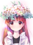 1girl bangs commentary_request flower flower_on_head highres kemurikusa long_hair looking_at_viewer red_eyes redhead rina_(kemurikusa) simple_background smile solo straight_hair usapenpen2019 wreath