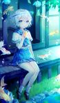 1other absurdres ambiguous_gender black_footwear blue_eyes blue_neckwear blue_skirt blush bubble closed_mouth ha_youn halo highres koi looking_at_viewer neckerchief original outdoors sailor_collar shoes short_hair sitting skirt smile socks solo white_hair white_legwear wind_chime