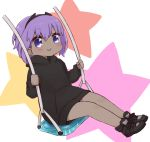 1girl bangs black_footwear black_hoodie blush closed_mouth dark_skin eyebrows_visible_through_hair fate/prototype fate/prototype:_fragments_of_blue_and_silver fate_(series) full_body hair_between_eyes hassan_of_serenity_(fate) holding hood hood_down hoodie i.u.y long_sleeves purple_hair shoes smile solo star starry_background swing violet_eyes white_background