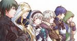 1girl 5boys armor black_hairband blue_hair book breastplate brown_gloves brown_hair byleth byleth_(male) closed_mouth crossed_arms dated dragon_girl female_my_unit_(fire_emblem_if) fire_emblem fire_emblem:_fuukasetsugetsu fire_emblem:_kakusei fire_emblem:_rekka_no_ken fire_emblem:_shin_monshou_no_nazo fire_emblem_heroes fire_emblem_if gloves hairband highres holding holding_book hood hood_down hood_up intelligent_systems kamui_(fire_emblem) kris_(fire_emblem) kris_(fire_emblem)_(male) long_hair long_sleeves looking_to_the_side male_my_unit_(fire_emblem:_fuukasetsugetsu) male_my_unit_(fire_emblem:_kakusei) multiple_boys my_unit_(fire_emblem:_fuukasetsugetsu) my_unit_(fire_emblem:_kakusei) my_unit_(fire_emblem:_shin_monshou_no_nazo) my_unit_(fire_emblem_if) nintendo pointy_ears red_eyes reflet short_hair simple_background smile stone summoner_(fire_emblem_heroes) super_smash_bros. tactician_(fire_emblem) tohka_sd twitter_username upper_body white_background white_hair