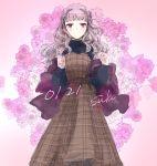 1girl blush dress flower highres idolmaster idolmaster_(classic) long_hair pinafore_dress shijou_takane silver_hair smile solo violet_eyes