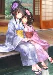 2girls absurdres black_hair blue_kimono blue_nails blush day floral_print flower green_eyes hair_bun hair_flower hair_ornament hair_up head_on_shoulder highres holding_hands japanese_clothes kimono looking_at_another multiple_girls original outdoors pink_nails porch rasukii_(pamiton) red_eyes sandals short_hair sidelocks sitting sliding_doors smile toenail_polish water wide_sleeves yukata yuri