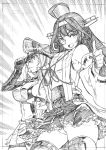 2girls absurdres ahoge bangs bismarck_(kantai_collection) breasts closed_mouth detached_sleeves double_bun frilled_skirt frills gloves graphite_(medium) greyscale hairband hat headgear highres japanese_clothes kantai_collection kojima_takeshi kongou_(kantai_collection) long_hair military military_hat military_uniform monochrome multiple_girls nontraditional_miko open_mouth panties peaked_cap pose ribbon-trimmed_sleeves ribbon_trim sideboob skirt thumbs_up traditional_media underwear uniform