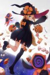 1girl abigail_williams_(fate/grand_order) back blonde_hair blue_eyes blush candy dress fate/grand_order fate_(series) food hat highres jack-o'-lantern kopaka_(karda_nui) lollipop long_hair looking_at_viewer mary_janes open_mouth purple_dress purple_legwear shoes single_thighhigh sleeves_past_wrists solo thigh-highs witch_hat