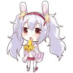 1girl animal_ears azur_lane bangs bare_shoulders blush brown_eyes camisole chibi commentary_request eyebrows_visible_through_hair full_body hair_between_eyes hairband holding holding_instrument instrument instrument_request jacket laffey_(azur_lane) long_hair long_sleeves memorii_(memory_0w0) music off_shoulder open_clothes open_jacket open_mouth pink_jacket playing_instrument pleated_skirt rabbit_ears red_hairband red_skirt rudder_footwear shoes silver_hair simple_background skirt solo standing thigh-highs twintails very_long_hair white_background white_camisole white_footwear white_legwear wide_sleeves
