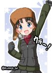 1girl :d bangs black_gloves black_skirt black_vest blue_eyes blue_sky blush_stickers breath brown_hair brown_headwear commentary eyebrows_visible_through_hair fist_pump flipper fur_hat girls_und_panzer gloves green_jacket hat head_tilt insignia jacket long_sleeves looking_at_viewer military military_uniform nina_(girls_und_panzer) open_mouth outline pleated_skirt pravda_military_uniform raised_fist red_shirt shirt short_hair short_twintails skirt sky smile solo standing translated turtleneck twintails twitter_username uniform upper_body ushanka vest white_outline zipper