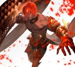 1boy ashwatthama_(fate/grand_order) dark_skin dark_skinned_male fate/grand_order fate_(series) fire gauntlets highres lack male_focus muscle open_mouth redhead shirtless yellow_eyes