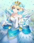 1girl bare_shoulders blonde_hair blue_eyes blue_hair closed_mouth crown dress earrings feather_trim fire_emblem fire_emblem_heroes fjorm_(fire_emblem_heroes) flower gradient_hair greyradian hair_flower hair_ornament hand_up highres jewelry long_sleeves looking_at_viewer multicolored_hair short_hair smile solo standing stefmarii twitter_username white_dress