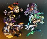 +_+ 4girls ankle_boots aori_(splatoon) black_dress black_footwear black_gloves black_jumpsuit blue_legwear boots brown_hair brown_legwear cephalopod_eyes clenched_hand closed_mouth commentary cousins crown dark_skin detached_collar domino_mask dress earrings embers facial_mark fangs fingerless_gloves food food_on_head gloves gradient_hair green_eyes green_footwear green_hair green_legwear grey_dress grin headphones high_heel_boots high_heels hime_(splatoon) hotaru_(splatoon) iida_(splatoon) jewelry light_particles long_hair long_sleeves looking_at_another mask mole mole_under_eye mole_under_mouth multicolored_hair multiple_girls object_on_head octarian open_mouth pantyhose pink_pupils pointy_ears reaching_out sharp_teeth short_dress short_jumpsuit smile smirk splatoon_(series) splatoon_1 splatoon_2 strapless suction_cups sushi teeth tentacle_hair thigh-highs thigh_boots ukata very_long_hair white_gloves yellow_eyes