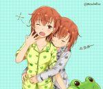 2girls animal_print blue_background brown_eyes brown_hair cat_print cowboy_shot frog_print gekota green_pajamas grey_pajamas ha_neko hug hug_from_behind looking_at_viewer misaka_imouto misaka_imouto_10032 misaka_mikoto multiple_girls one_eye_closed pajamas sleeping sleepy stuffed_animal stuffed_frog stuffed_toy to_aru_kagaku_no_railgun to_aru_majutsu_no_index zzz