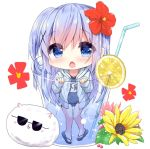 1girl angora_rabbit animal ass_visible_through_thighs bangs bendy_straw blue_eyes blue_footwear blue_hair blue_jacket blue_swimsuit blush chestnut_mouth chibi commentary_request covered_navel cup drawstring drink drinking_glass drinking_straw eyebrows_visible_through_hair flower food gochuumon_wa_usagi_desu_ka? hair_between_eyes hair_flower hair_ornament hood hood_down hooded_jacket ice_cream in_container in_cup jacket kafuu_chino kouda_suzu long_hair long_sleeves looking_at_viewer minigirl name_tag old_school_swimsuit one-piece_swimsuit open_clothes open_jacket open_mouth rabbit red_flower sandals school_swimsuit sleeves_past_wrists sunglasses swimsuit swimsuit_under_clothes tippy_(gochiusa) very_long_hair white_background x_hair_ornament yellow_flower