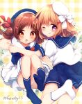 2girls :o ;q bangs beret blue_headwear blue_legwear blue_sailor_collar blue_shirt blue_skirt blush bow brown_eyes brown_hair closed_mouth commentary_request eyebrows_visible_through_hair floral_background flower gochuumon_wa_usagi_desu_ka? hair_between_eyes hair_bow hair_bun hair_ornament hairclip haru_ichigo hat hoto_cocoa long_hair mini_hat multiple_girls natsu_megumi no_shoes one_eye_closed open_mouth plaid plaid_background pleated_skirt red_bow sailor_collar shirt side_bun skirt smile socks soles tilted_headwear tongue tongue_out twitter_username violet_eyes white_bow white_flower white_headwear white_legwear white_sailor_collar white_shirt white_skirt