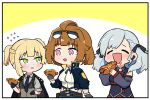 3girls ^_^ ^o^ absurdres bare_shoulders belt black_gloves blush braid breasts chibi closed_eyes detached_sleeves drooling earpiece eyebrows_visible_through_hair eyewear_on_head flying_sweatdrops girls_frontline gloves green_eyes grizzly_mkv_(girls_frontline) highres hot_dog jacket jacket_on_shoulders long_hair multiple_girls necktie nemomo short_hair spas-12_(girls_frontline) sunglasses thick_eyebrows twintails two_side_up vest violet_eyes welrod_mk2_(girls_frontline)