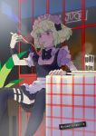 1boy alternate_costume apron cheese_trail crossdressing eating enmaided food frills green_hair highres lio_fotia maid maid_apron maid_headdress male_focus outdoors pizza promare puffy_sleeves sitting solo violet_eyes waist_apron yawarakamilk