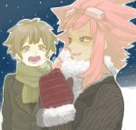 2boys blue_eyes blush brown_hair commentary goggles inazuma_eleven inazuma_eleven_(series) long_hair male_focus mero_(omigurax) mittens multiple_boys open_mouth pink_hair short_hair smile snow tachimukai_yuuki winter