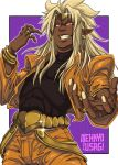 1boy blonde_hair commentary commission cosplay dark_skin dark_skinned_male dio_brando dio_brando_(cosplay) english_commentary evil_grin evil_smile godzilla:_king_of_the_monsters godzilla_(series) grid grin headband jojo_no_kimyou_na_bouken king_ghidorah king_ghidorah_(godzilla:_king_of_the_monsters) long_hair looking_at_viewer male_focus nekkyo_usagi personification pointy_ears red_eyes smile solo solo_focus