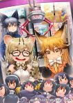 3girls :3 :d ^_^ against_glass animal_ear_fluff animal_ears artist_request bangs black-framed_eyewear black_hair black_neckwear blonde_hair blue_jacket bow bowtie caracal_(kemono_friends) cat_ears character_doll closed_eyes commentary_request copyright_name crane_game drooling elbow_gloves emperor_penguin_(kemono_friends) extra_ears ezo_red_fox_(kemono_friends) fox_ears fur-trimmed_sleeves fur_trim gentoo_penguin_(kemono_friends) glasses gloves grey_hair habu_(kemono_friends) hair_between_eyes humboldt_penguin_(kemono_friends) jacket kemono_friends long_hair lucky_beast_(kemono_friends) margay_(kemono_friends) margay_print multicolored_hair multiple_girls official_art open_mouth orange_eyes orange_jacket poster_(object) print_gloves print_neckwear rockhopper_penguin_(kemono_friends) royal_penguin_(kemono_friends) serval_(kemono_friends) shirt short_hair silver_fox_(kemono_friends) sleeveless sleeveless_shirt smile stuffed_toy two-tone_hair v-shaped_eyebrows white_neckwear white_shirt
