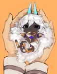 1boy arjuna_alter black_eyes blue_horns cat_tail chibi closed_mouth dark_skin dark_skinned_male fate/grand_order fate_(series) highres horns in_palms long_hair looking_at_viewer orange_background pants simple_background solo_focus tail very_long_hair white_hair white_pants