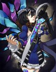 1girl artist_request black_hair bloodstained:_ritual_of_the_night blue_eyes breasts brown_hair detached_sleeves gauntlets gradient_hair hair_between_eyes hair_ornament highres horns looking_at_viewer miriam_(bloodstained) multicolored_hair pale_skin short_hair solo stained_glass sword tattoo weapon