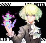 1boy androgynous artist_request black_gloves black_jacket blonde_hair cravat earrings fire gloves green_hair half_gloves jacket jewelry lio_fotia looking_at_viewer male_focus promare solo