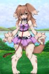 1girl alina_pegova animal_ears bare_shoulders belt blush breasts brown_eyes brown_hair clouds collar commission day dog_collar dog_ears dog_girl dog_paws dog_tail fang full_body fur grass hair_between_eyes happy heart horizon kobold_(monster_girl_encyclopedia) lake landscape long_hair looking_at_viewer midriff monster_girl monster_girl_encyclopedia navel open_mouth paws pet purple_skirt purple_tank_top skirt sky small_breasts smile solo standing tail tank_top