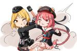 2girls appetizer_(gray) commentary_request fighting girls_frontline highres long_braid long_hair military military_uniform mp40_(girls_frontline) multiple_girls pps-43_(girls_frontline) punching russian_text soviet_navy stick_grenade uniform wehrmacht world_war_ii