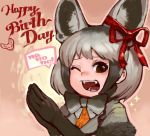 1girl ;d animal_ear_fluff animal_ears bat-eared_fox_(kemono_friends) black_eyes black_gloves black_hair bow bowtie commentary ear_ribbon elbow_gloves extra_ears fangs fox_ears fur_trim gloves grey_hair hair_ribbon hands_together handsdsds happy_birthday kemono_friends looking_at_viewer multicolored_hair one_eye_closed open_mouth outline red_ribbon ribbon short_hair short_sleeves simple_background smile solo sparkle speech_bubble teeth two-tone_hair upper_body
