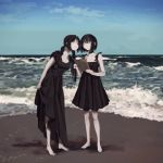 2girls bangs barefoot beach black_dress breasts choker closed_eyes closed_mouth clouds day dress freng full_body holding holding_paper long_hair multiple_girls original pale_skin paper sand shadow short_hair sky standing water waves