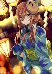 1girl bangs blue_eyes blush breasts brown_hair closed_mouth english_commentary eternals festival go-toubun_no_hanayome hair_between_eyes headphones headphones_around_neck japanese_clothes kimono lantern large_breasts mask mask_on_head medium_hair nakano_miku obi pout sash yukata