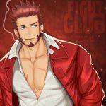 1boy artist_name beard blue_eyes brown_hair chest cigarette collarbone dated facial_hair fate/grand_order fate_(series) fight_club highres jacket male_focus miqi_(nnaf3344) mouth_hold muscle napoleon_bonaparte_(fate/grand_order) open_clothes pectorals red_background red_jacket scar sideburns simple_background smile smoking solo standing upper_body