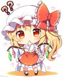 1girl ?? blonde_hair blush chibi commentary_request crystal flandre_scarlet full_body hart heart long_hair looking_at_viewer ramudia_(lamyun) red_eyes side_ponytail simple_background solo standing thumb_sucking touhou twitter_username white_background white_headwear wings