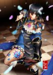 1girl black_hair bloodstained:_ritual_of_the_night blue_eyes breasts brown_hair detached_sleeves eduardo_j._perez_m. gauntlets gradient_hair hair_between_eyes hair_ornament highres horns looking_at_viewer miriam_(bloodstained) multicolored_hair pale_skin short_hair solo stained_glass tattoo