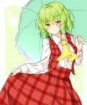 1girl aka_tawashi ascot bangs blush border breasts commentary_request cowboy_shot eyebrows_visible_through_hair green_background green_hair green_umbrella hair_between_eyes highres holding holding_umbrella kazami_yuuka long_sleeves looking_at_viewer medium_breasts outside_border plaid plaid_skirt plaid_vest red_eyes red_skirt red_vest shirt short_hair simple_background skirt skirt_hold skirt_set smile solo standing touhou umbrella vest white_border white_shirt wing_collar yellow_neckwear