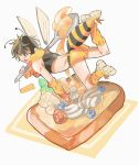 1boy antennae ass bee_boy blueberry boots brown_hair fang food french_toast fruit highres honey hymkky3 insect_wings looking_at_viewer midriff one_eye_closed raspberry shorts simple_background skin_fang sleeveless smile spoon tank_top whipped_cream wings yellow_eyes yellow_footwear yellow_shorts
