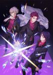 3boys blonde_hair boots brown_hair earrings hair_between_eyes highres idol_clothes jacket jacket_removed jewelry kousaka_ango looking_at_viewer male_focus multiple_boys munakata_touya necklace official_art purple_hair readyyy! red_shirt ring shirt usui_chihiro