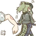 1boy 1girl =3 artist_logo asst_lab bite_mark black_gloves commentary_request crocodile_tail fingerless_gloves gloves green_hair kemono_friends long_hair multicolored_hair out_of_frame pants ponytail saltwater_crocodile_(kemono_friends) simple_background tail tail_through_clothes walking_away white_background